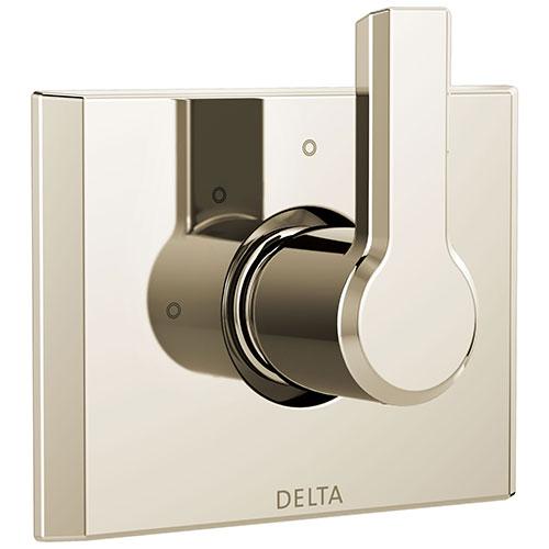 Delta Pivotal Modern Polished Nickel Finish 3-Setting 2 Outlet Port Shower System Diverter Includes Lever Handle and Rough-in Valve D3571V