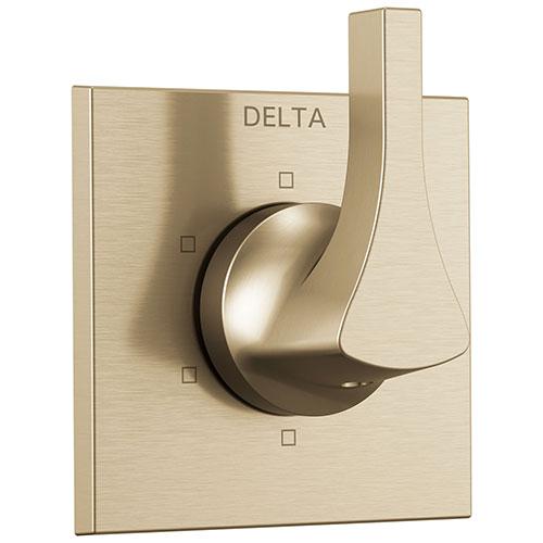 Delta Zura Champagne Bronze Finish 6-Setting 3 Outlet Port Shower System Diverter Includes Lever Handle and Rough-in Valve D3567V