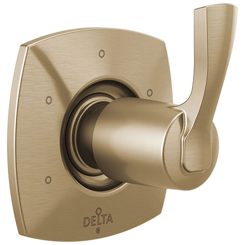 Delta Stryke Champagne Bronze Finish Six Function 3 Outlet Port Shower System Diverter Includes Lever Handle and Rough-in Valve D3564V