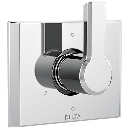 Delta Pivotal Modern Chrome Finish 6-Setting 3 Outlet Port Shower System Diverter Includes Lever Handle and Rough-in Valve D3562V