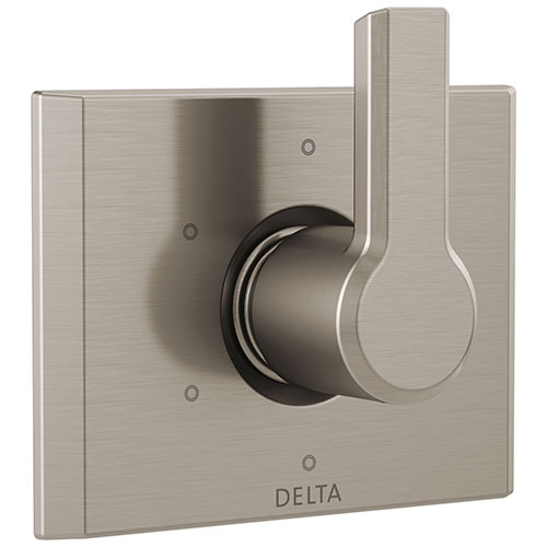 Delta Pivotal Modern Stainless Steel Finish 6-Setting 3 Outlet Port Shower System Diverter Includes Lever Handle and Rough-in Valve D3559V