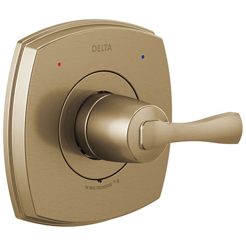 Delta Stryke Champagne Bronze Finish 14 Series Single Lever Handle Shower Faucet Control Only Includes Cartridge and Valve with Stops D3536V