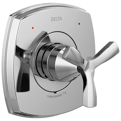 Delta Stryke Chrome Finish 14 Series Single Helo Cross Handle Shower Faucet Control Only Includes Cartridge and Valve with Stops D3546V