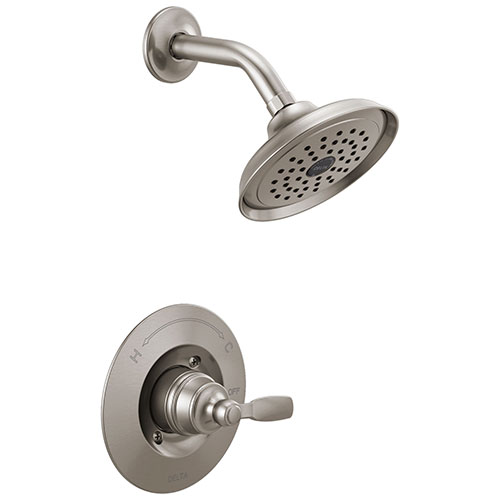 Delta Woodhurst Stainless Steel Finish Shower only Faucet Includes Single Lever Handle, Cartridge, and Valve without Stops D3517V