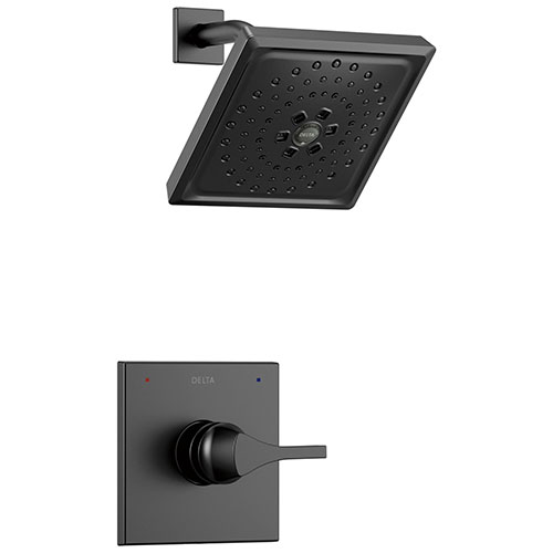 Delta Zura Matte Black Finish Monitor 14 Series H2Okinetic Shower only Faucet Includes Handle, Cartridge, and Valve with Stops D3641V