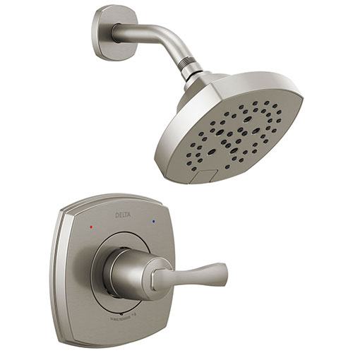 Delta Stryke Stainless Steel Finish 14 Series Shower Only Faucet Includes Single Lever Handle, Cartridge, and Rough-in Valve with Stops D3486V