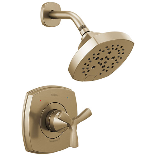 Delta Stryke Champagne Bronze Finish 14 Series Shower Only Faucet Includes Helo Cross Handle, Cartridge, and Rough-in Valve with Stops D3496V