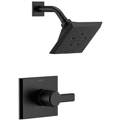 Delta Pivotal Matte Black Finish Monitor 14 Series Shower only Faucet Includes Single Lever Handle, Cartridge, and Valve without Stops D3479V
