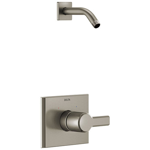 Delta Pivotal Stainless Steel Finish 14 Series Shower only Faucet Less Showerhead Includes Single Handle, Cartridge, and Valve with Stops D3472V