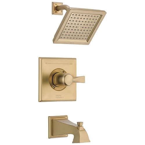Delta Dryden Champagne Bronze Finish Water Efficient Tub & Shower Combination Faucet Includes Single Handle, Cartridge, and Valve without Stops D3463V