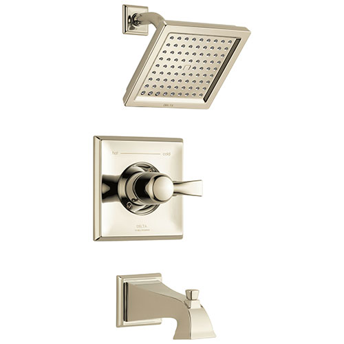 Delta Dryden Polished Nickel Finish Water Efficient Tub & Shower Combination Faucet Includes Single Handle, Cartridge, and Valve without Stops D3461V