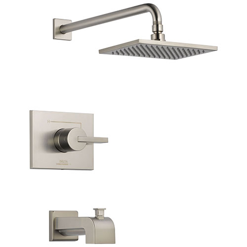 Delta Vero Stainless Steel Finish 14 Series Water Efficient Tub & Shower Combination Faucet Includes Cartridge, Handle, and Valve with Stops D3452V