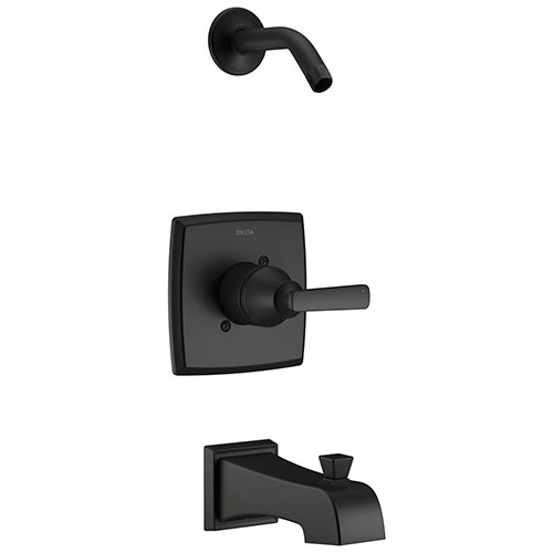 Delta Ashlyn Matte Black Finish Monitor Tub and Shower Combination Less Showerhead Includes Single Handle, Cartridge, and Valve with Stops D3446V