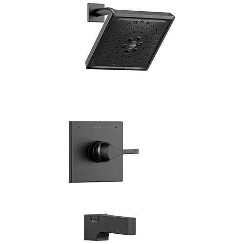 Delta Zura Matte Black Finish Monitor 14 Series H2Okinetic Tub and Shower Combination Faucet Trim Kit (Requires Valve) DT14474BL