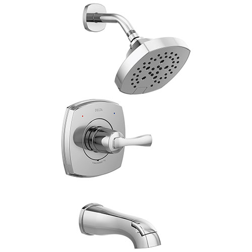 Delta Stryke Chrome Finish 14 Series Single Handle Tub and Shower Combination Faucet Trim Kit (Requires Valve) DT14476