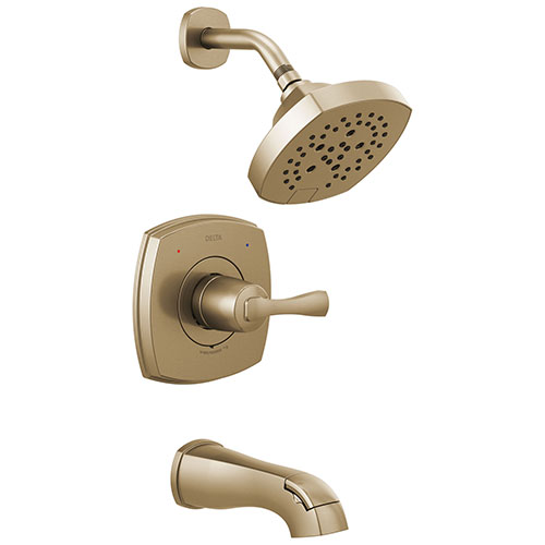 Delta Stryke Champagne Bronze Finish 14 Series Tub and Shower Combo Faucet Includes Single Lever Handle, Cartridge, and Valve with Stops D3432V