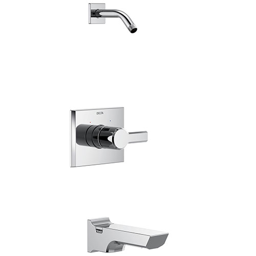 Delta Pivotal Chrome Finish 14 Series Tub and Shower Faucet Combo Less showerhead Includes Handle, Cartridge, and Valve with Stops D3420V