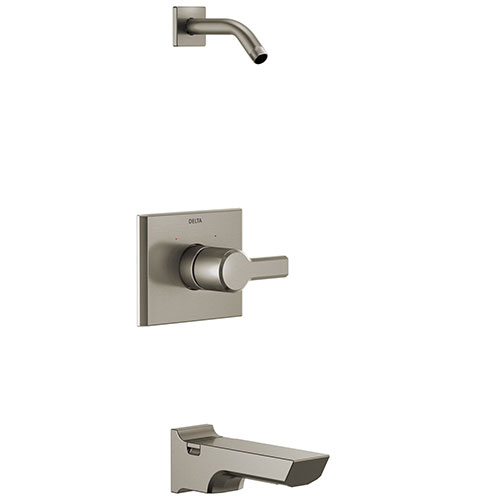 Delta Pivotal Stainless Steel Finish 14 Series Tub and Shower Faucet Combo Less showerhead Includes Handle, Cartridge, and Valve with Stops D3414V