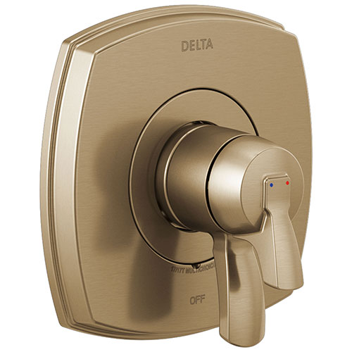 Delta Stryke Champagne Bronze Finish 17 Series Shower Faucet Control Only Includes Cartridge, Handles, and Valve without Stops D3401V