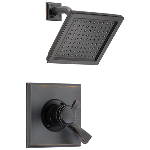Delta Dryden Venetian Bronze Finish Monitor 17 Series Water Efficient Shower only Faucet Includes Handles, Cartridge, and Valve with Stops D3388V