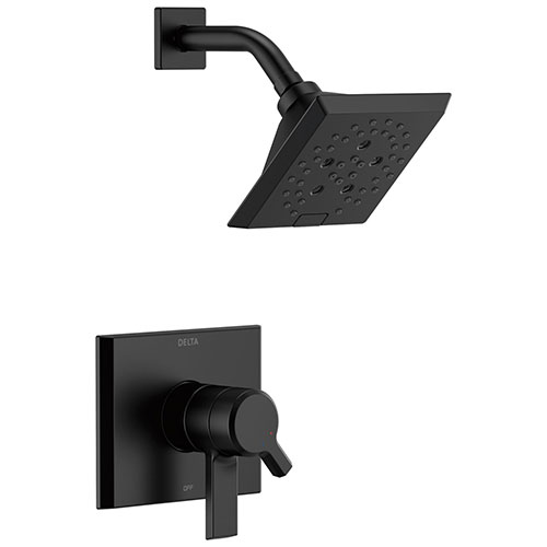 Delta Pivotal Modern Matte Black Finish H2Okinetic Shower only Faucet Includes 17 Series Cartridge, Handles, and Valve without Stops D3359V