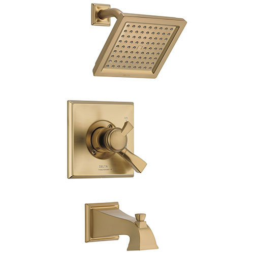 Delta Dryden Champagne Bronze Finish Water Efficient Tub & Shower Combo Faucet Includes 17 Series Cartridge, Handles, and Valve without Stops D3353V