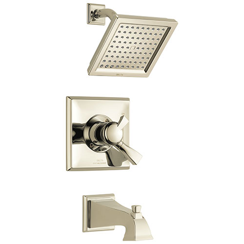 Delta Dryden Polished Nickel Finish Water Efficient Tub & Shower Combo Faucet Includes 17 Series Cartridge, Handles, and Valve with Stops D3352V
