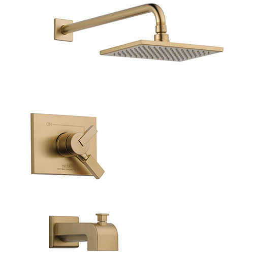 Delta Vero Champagne Bronze Finish Water Efficient Tub & Shower Combo Faucet Includes 17 Series Cartridge, Handles, and Valve with Stops D3348V