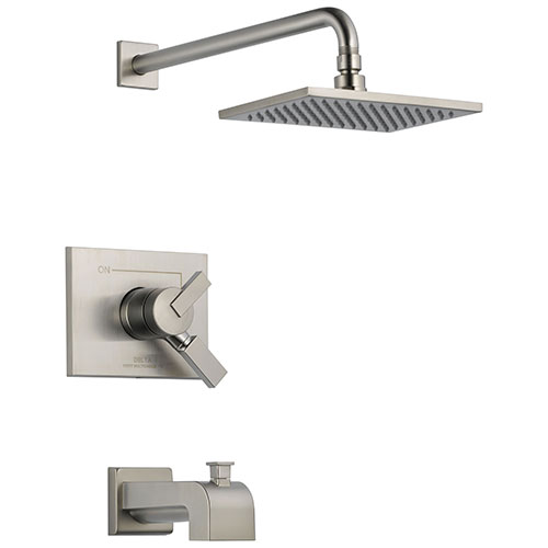Delta Vero Stainless Steel Finish Water Efficient Tub & Shower Combo Faucet Includes 17 Series Cartridge, Handles, and Valve with Stops D3344V