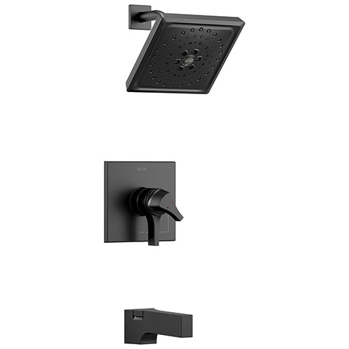 Delta Zura Matte Black Finish 17 Series H2Okinetic Tub and Shower Combination Faucet Includes Handles, Cartridge, and Valve without Stops D3632V