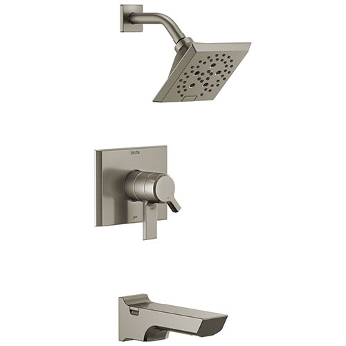 Delta Pivotal Stainless Steel Finish H2Okinetic Tub and Shower Combination Faucet Includes Cartridge, Handles, and Valve with Stops D3322V