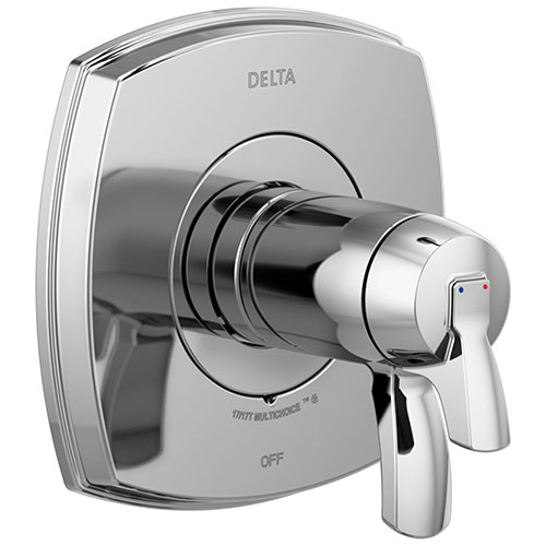 Delta Stryke Chrome Finish Thermostatic Shower Faucet Control Includes 17T Cartridge, Handles, and Valve without Stops D3315V