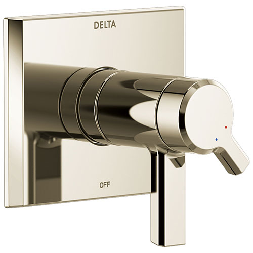 Delta Pivotal Polished Nickel Finish Thermostatic Shower Faucet Dual Handle Control Includes 17T Cartridge, Handles, and Valve with Stops D3304V
