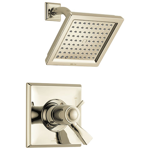 Delta Dryden Polished Nickel Finish Thermostatic Water Efficient Shower only Faucet Includes Handles, 17T Cartridge, and Valve without Stops D3291V