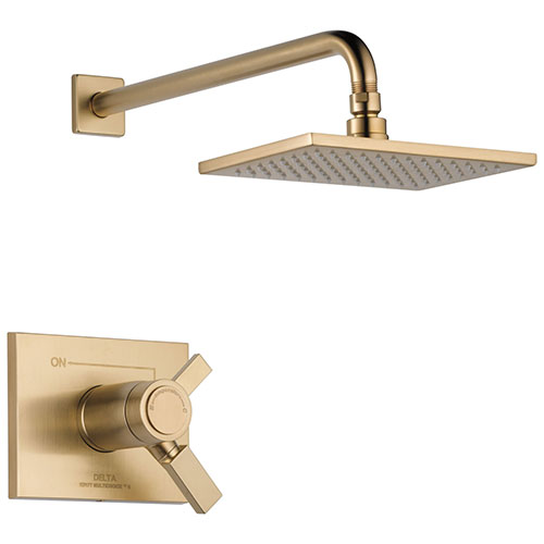 Delta Vero Champagne Bronze Finish Modern Thermostatic Water Efficient Shower only Faucet with 17T Cartridge, Handles, and Valve without Stops D3289V