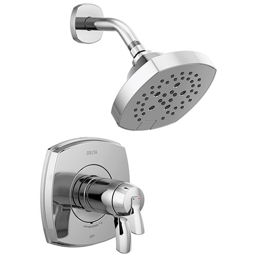 Delta Stryke Chrome Finish 17T Thermostatic Shower Only Faucet Includes Cartridge, Handles, and Rough-in Valve without Stops D3283V