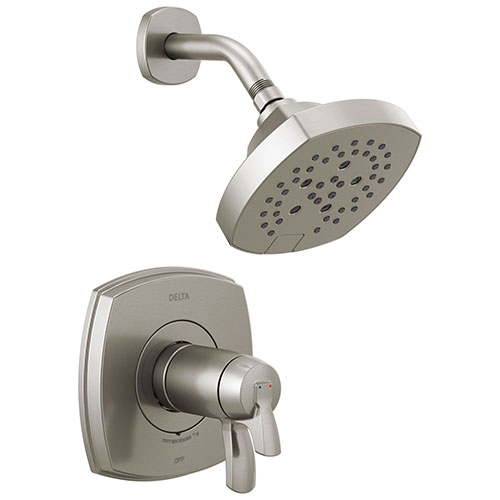 Delta Stryke Stainless Steel Finish 17T Thermostatic Shower Only Faucet Includes Cartridge, Handles, and Rough-in Valve without Stops D3277V