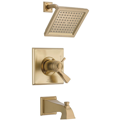 Delta Dryden Champagne Bronze Thermostatic Water Efficient Tub & Shower Faucet Combo Includes Handles, Cartridge, and Valve without Stops D3251V