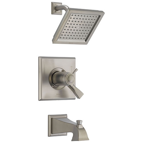 Delta Dryden Stainless Steel Finish Thermostatic Water Efficient Tub & Shower Faucet Combo Includes Handles, Cartridge, and Valve with Stops D3246V