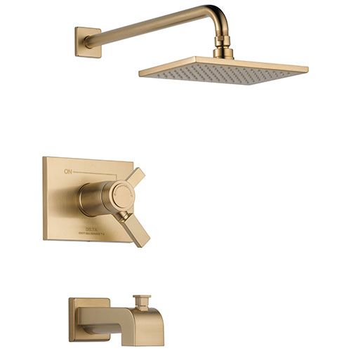 Delta Vero Champagne Bronze Finish Water Efficient Thermostatic Tub & Shower Faucet Combo Includes Cartridge, Handles, and Valve with Stops D3242V