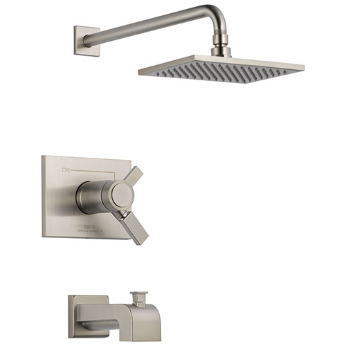 Delta Vero Stainless Steel Finish Water Efficient Thermostatic Tub & Shower Faucet Combo Includes Cartridge, Handles, and Valve without Stops D3237V