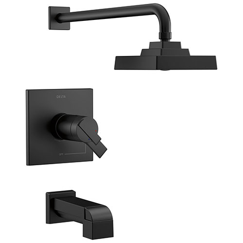 Delta Ara Matte Black Finish TempAssure 17T Series Tub and Shower Faucet Combo Trim Kit (Requires Valve) DT17T467BL