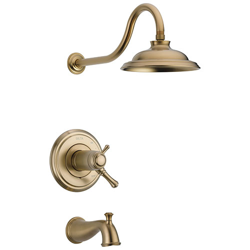 Delta Cassidy Champagne Bronze Finish TempAssure Water Efficient Tub & Shower Combo Includes Handles, 17T Cartridge, and Valve with Stops D3226V