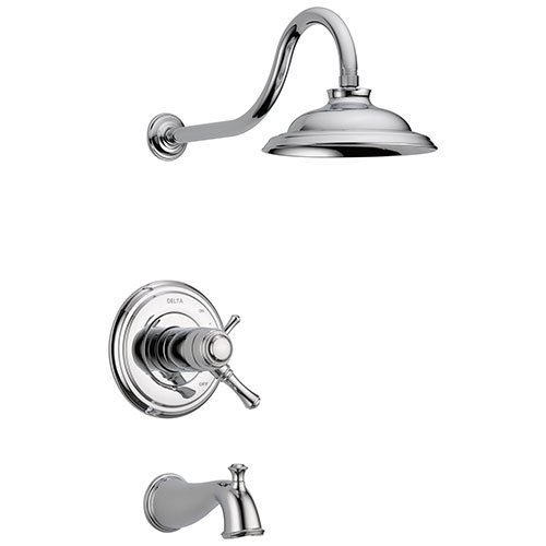 Delta Cassidy Chrome Finish TempAssure Water Efficient H2OKinetic Tub & Shower Combo Includes Handles, 17T Cartridge, and Valve with Stops D3218V
