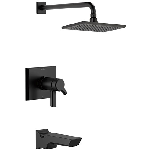 Delta Pivotal Matte Black Finish Thermostatic Tub & Shower Combination Faucet Includes 17T Cartridge, Handles, and Valve with Stops D3214V