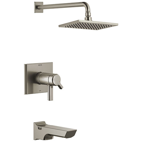 Delta Pivotal Stainless Steel Finish Thermostatic Tub & Shower Combination Faucet Includes 17T Cartridge, Handles, and Valve without Stops D3209V