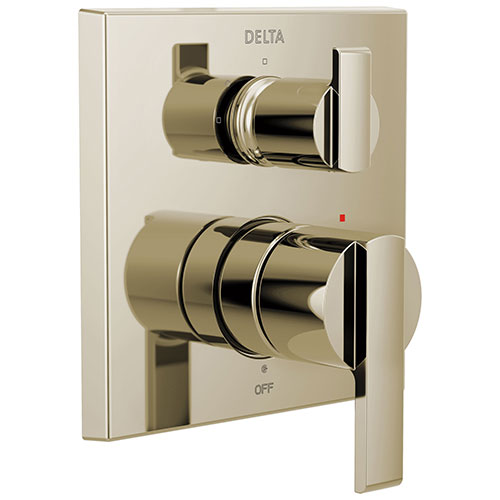 Delta Ara Polished Nickel Finish Angular Modern 14 Series Shower System Control with 3-Setting Integrated Diverter Includes Valve and Handles D3775V