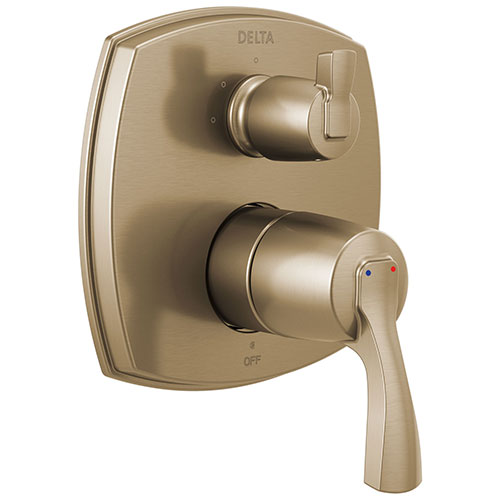Delta Stryke Champagne Bronze 14 Series Shower System Control with 3 Function Integrated Lever Handle Diverter Includes Valve and Handles D3200V