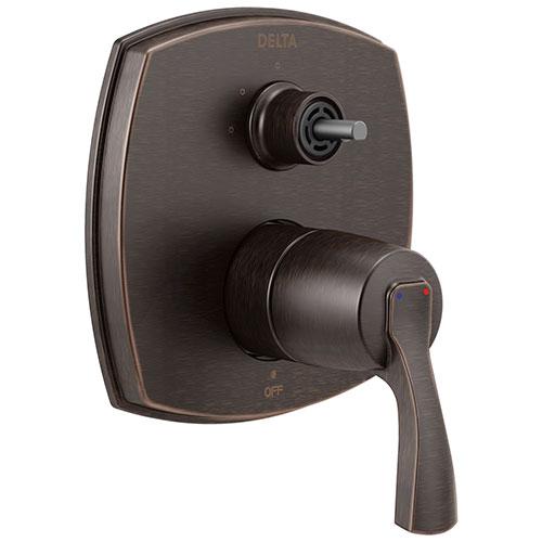 Delta Stryke Venetian Bronze Finish 14 Series 3 Function Integrated Diverter Shower Control Trim Kit Less Diverter Handle (Requires Valve) DT24876RBLHP