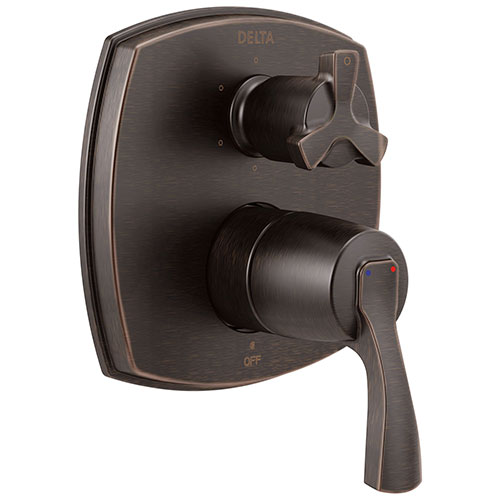 Delta Stryke Venetian Bronze Finish 14 Series Shower System Control with Integrated 6 Function Cross Handle Diverter Includes Valve and Handles D3176V